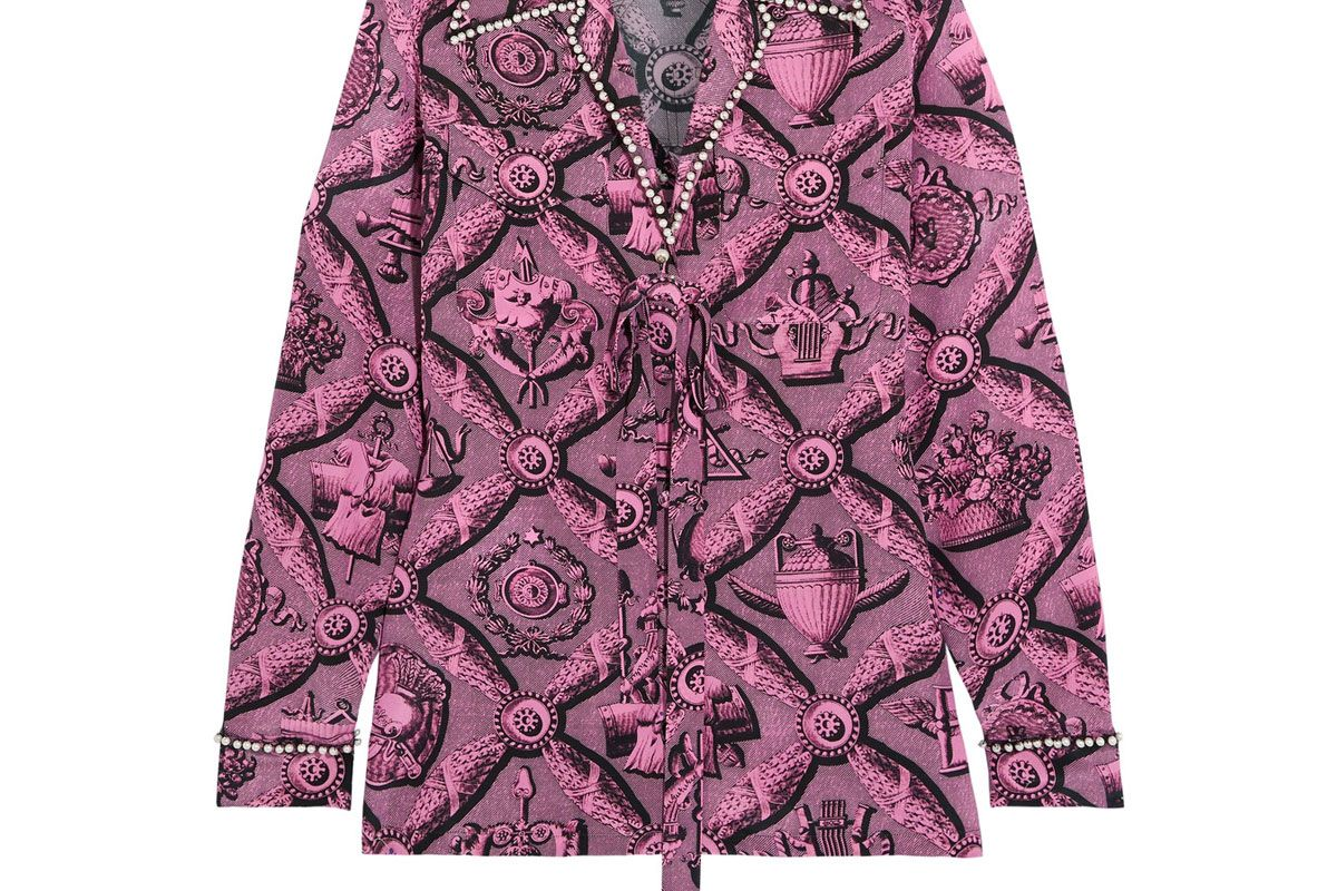 Faux Pearl-Embellished Printed Silk Crepe de Chine Blouse