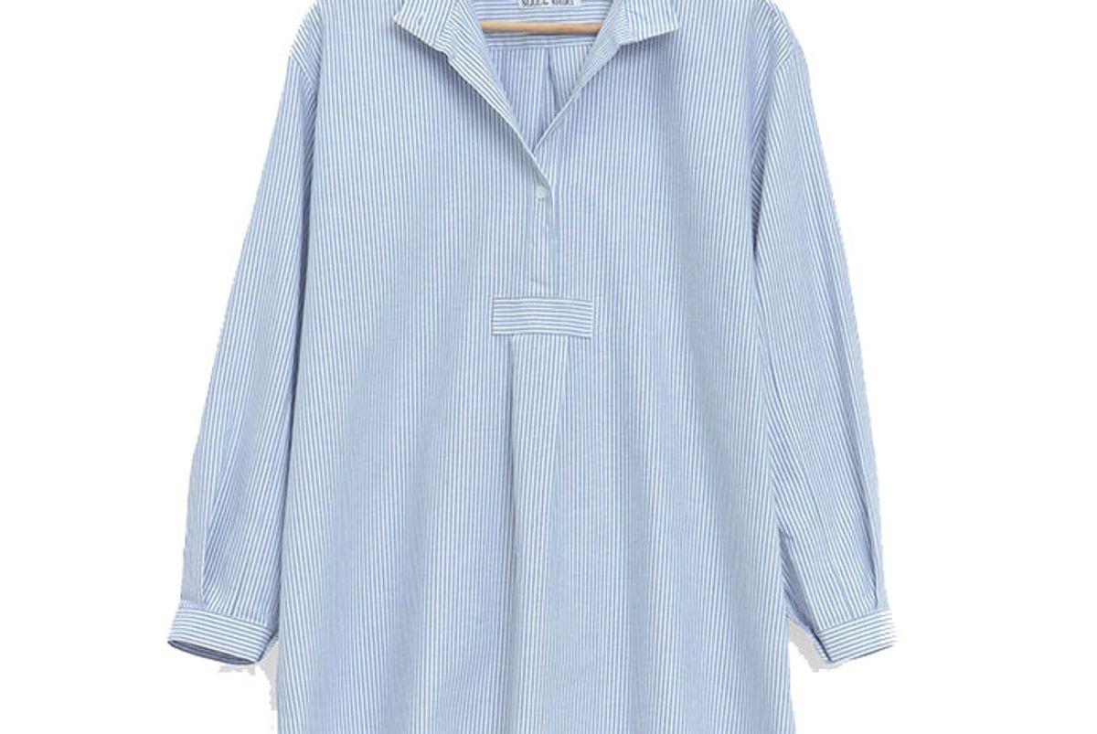 Short Sleep Shirt Blue Oxford Stripe
