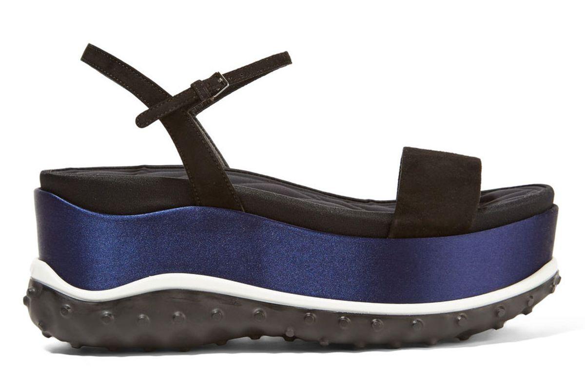Suede Faille and Satin Platform Sandals