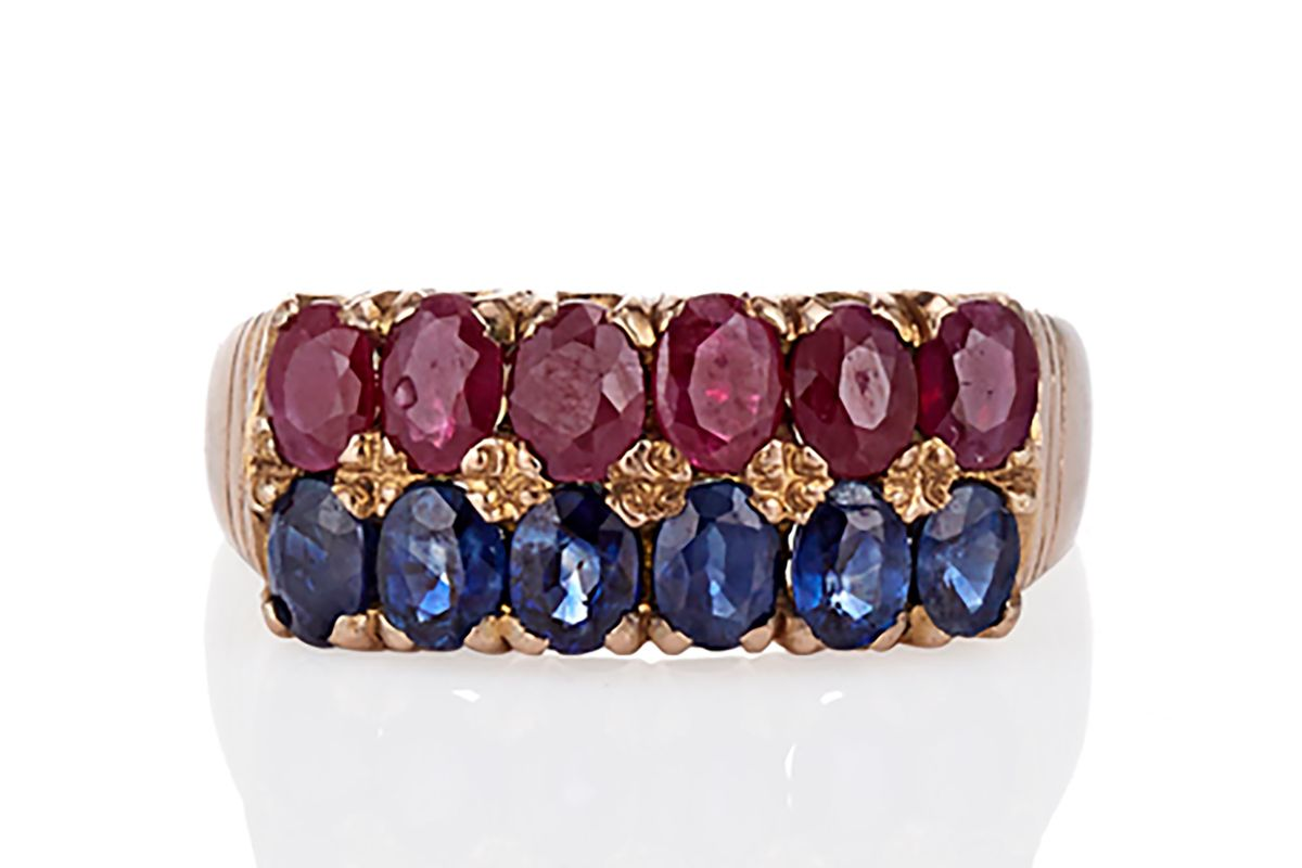 The Victorian ruby & sapphire row ring