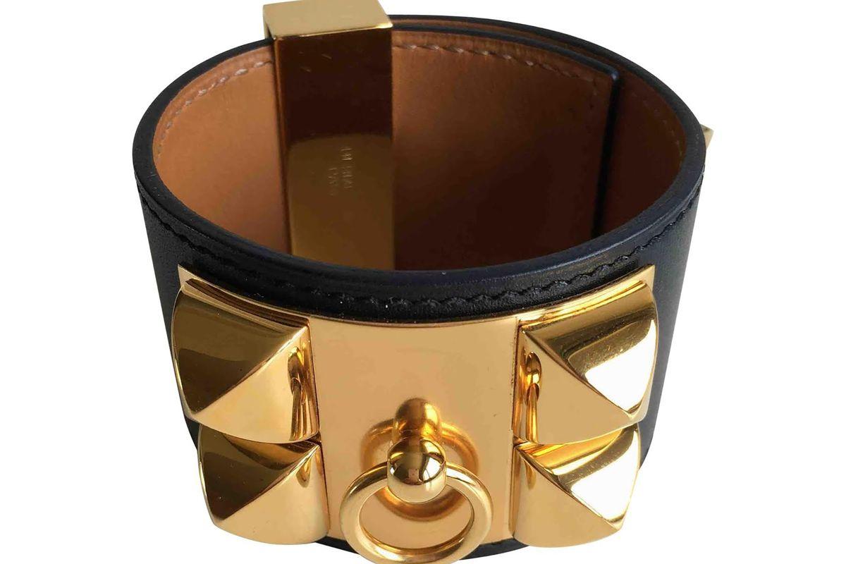 Collier de chien leather bracelet in black
