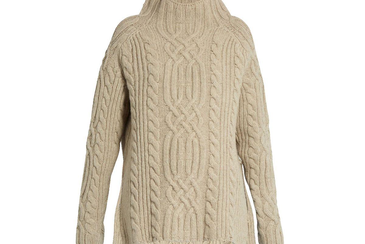 Side-Split Cable-Knit Wool Sweater