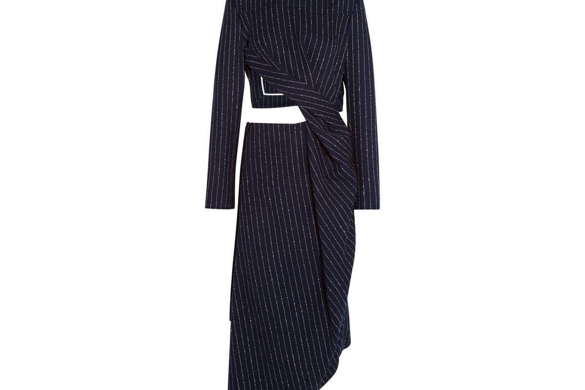 Elvia cutout pinstriped wool-blend dress