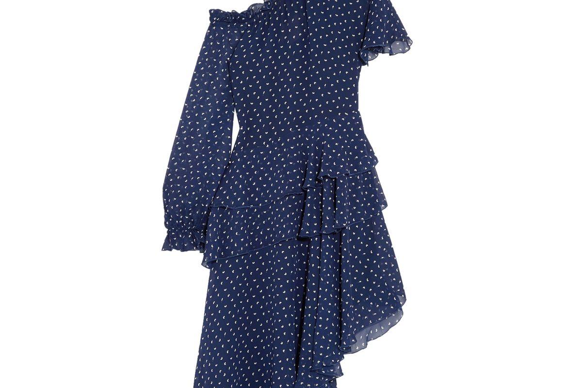 Midol Asymmetric Cutout Printed Silk-Georgette Dress