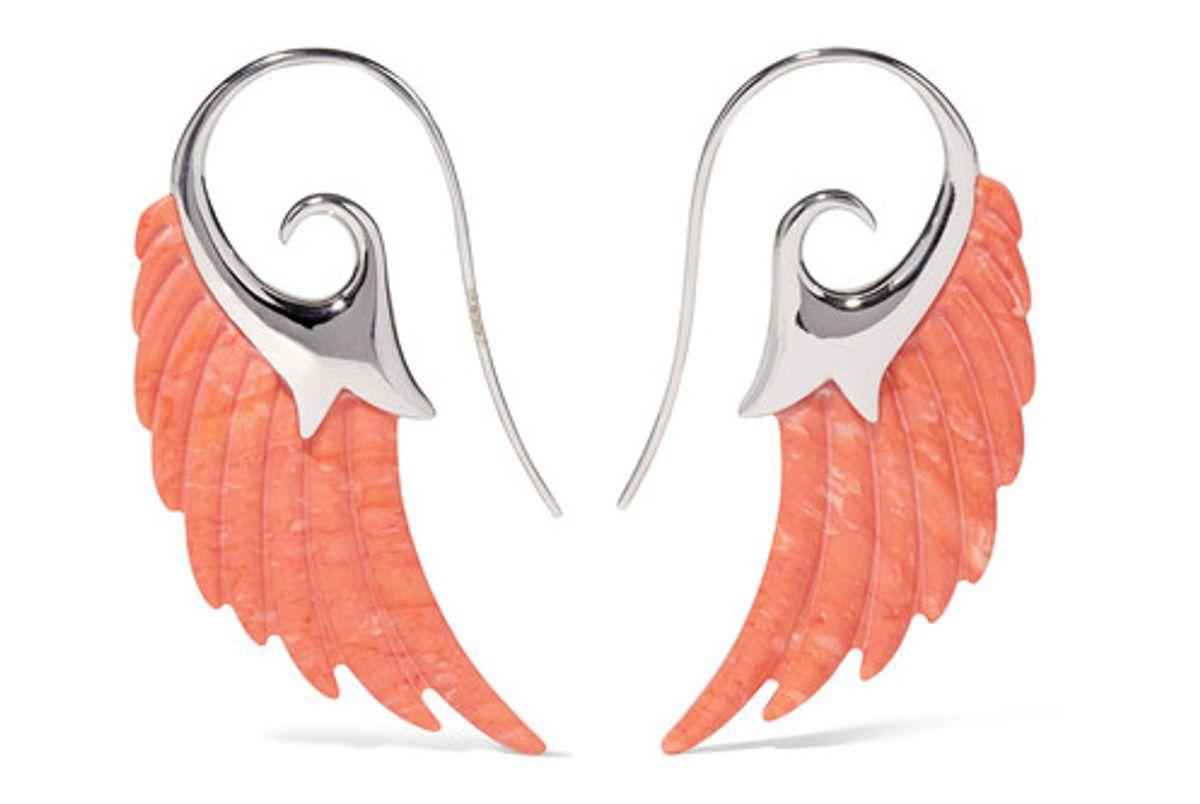 Wing 18-karat White Gold Coral Earrings