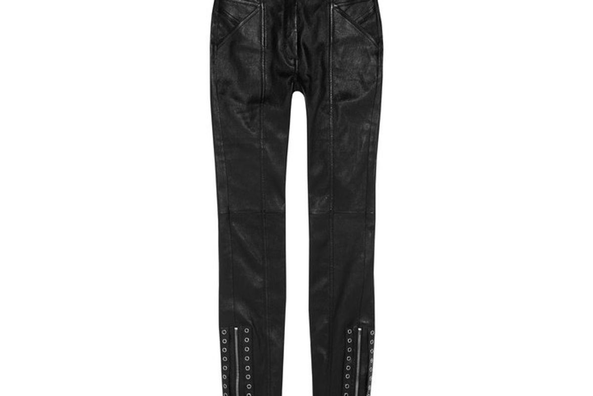 Eyelet-embellished Leather Skinny Pants