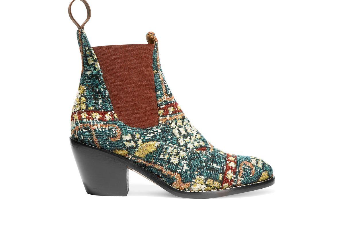 Bouclé-jacquard ankle boots