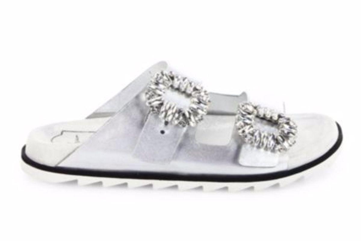 Slidy Viv Crystal Buckle Metallic Leather Slides
