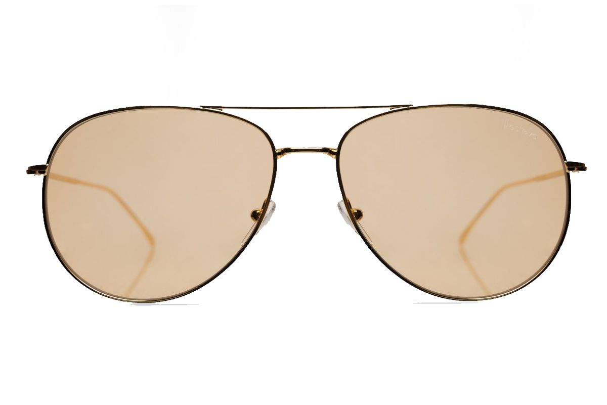 Linate Sunglasses in Gold with Mocha See Through Lenses