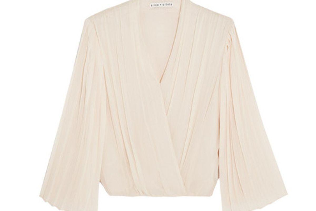 Axel Wrap-effect Pleated Silk-georgette Blouse