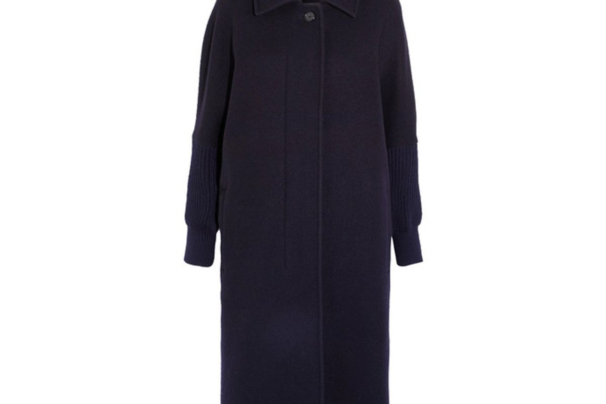 Oversized Knit-trimmed Wool-blend Coat