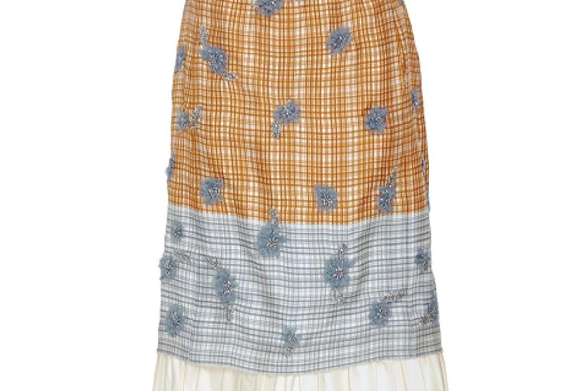 Selin Printed Plaid Skirt