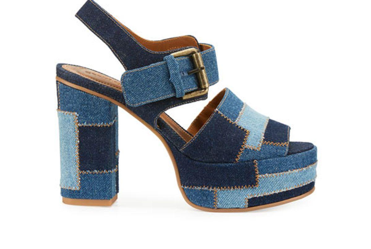 Tara Patchwork Denim Platform Sandal