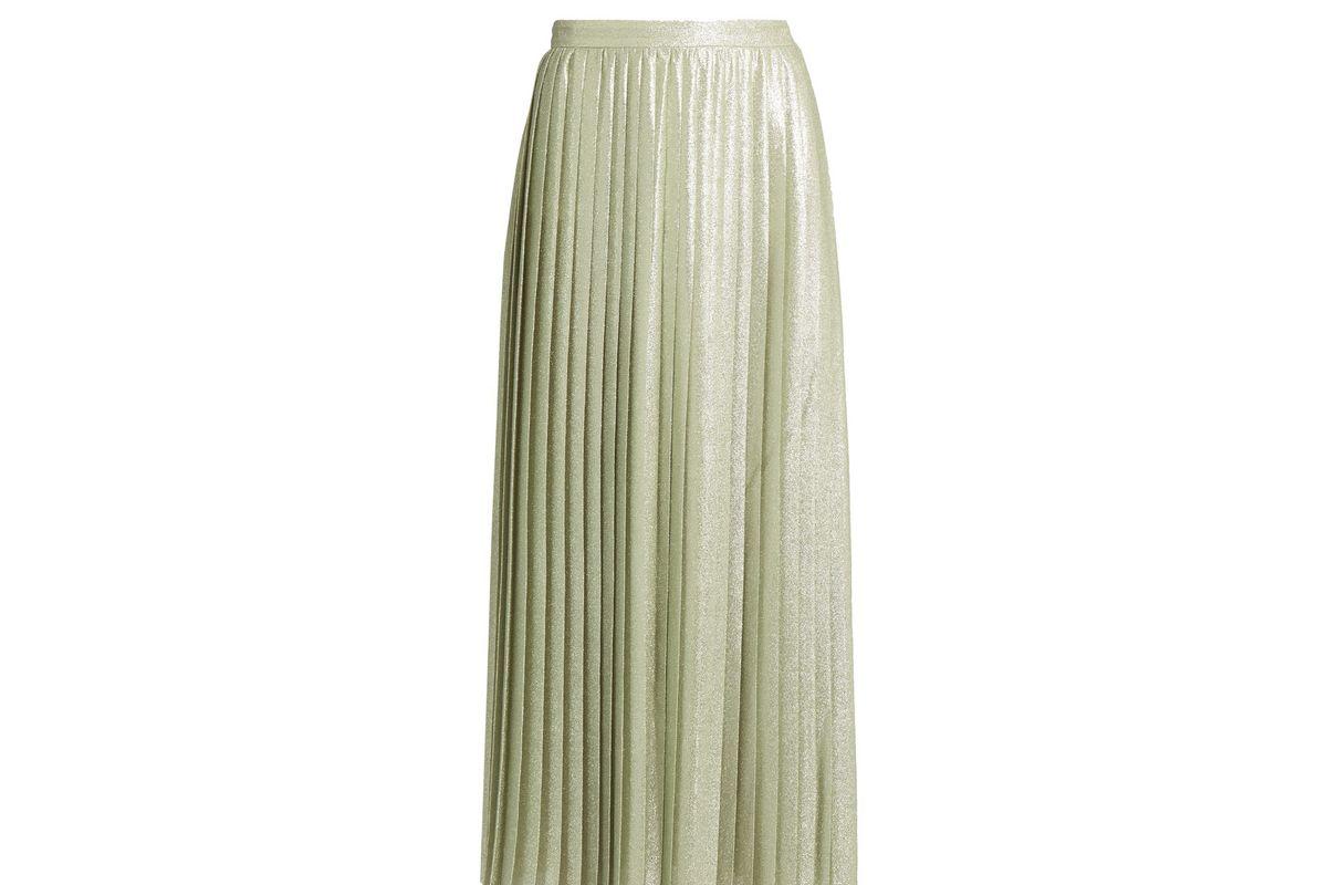 Metallic pleated wraparound maxi skirt