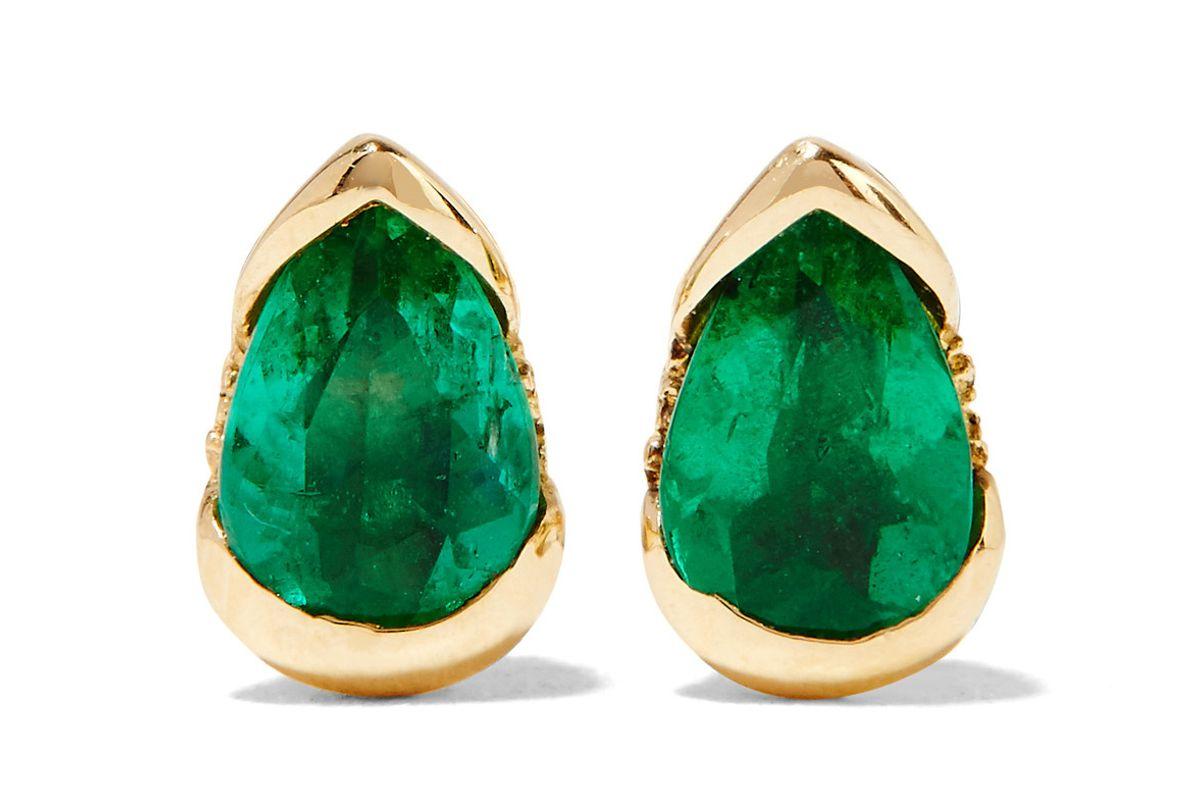 Bloom 18-karat gold, emerald and diamond earrings