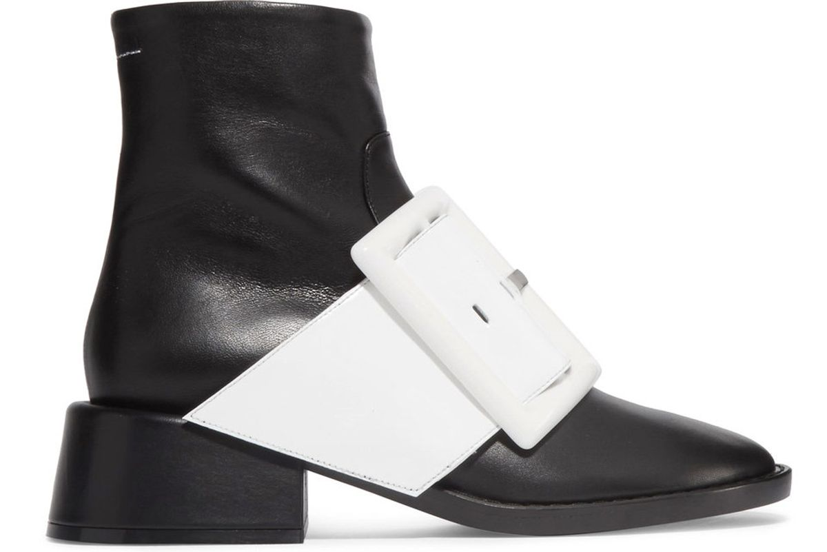 Patent-Trimmed Leather Ankle Boots