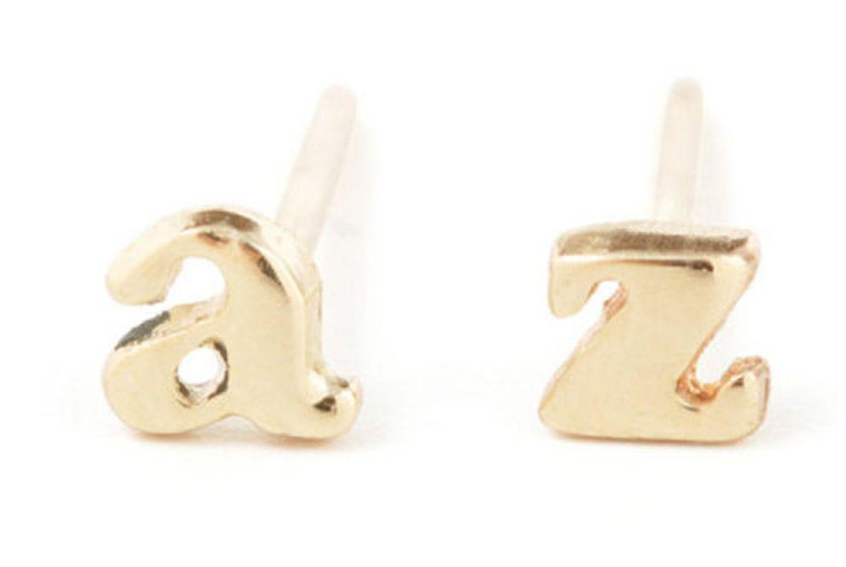 Alphabet Stud Earring, Yellow Gold (Single)