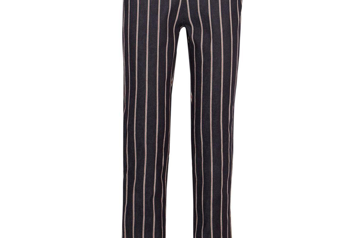 Loyal Companion Mid-Rise Striped Straight-Leg Jeans
