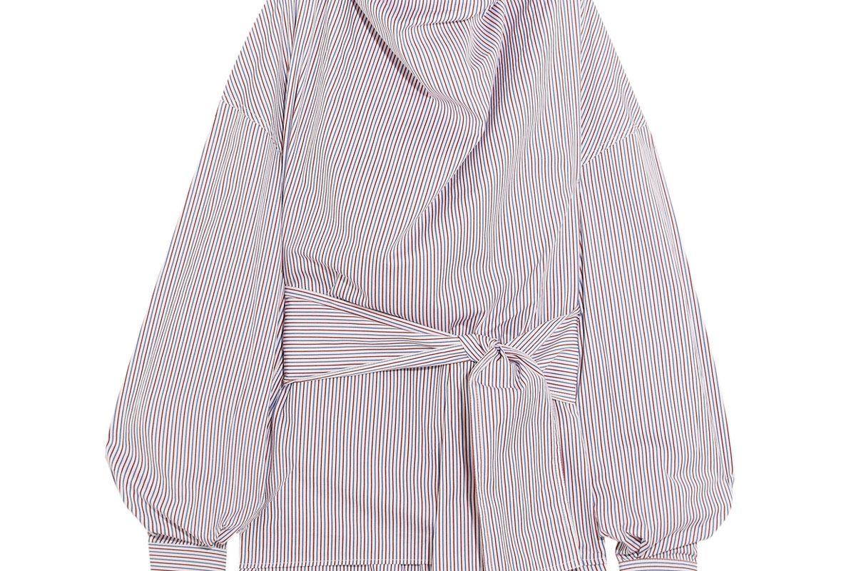 Striped Cotton-Poplin Funnelneck Top