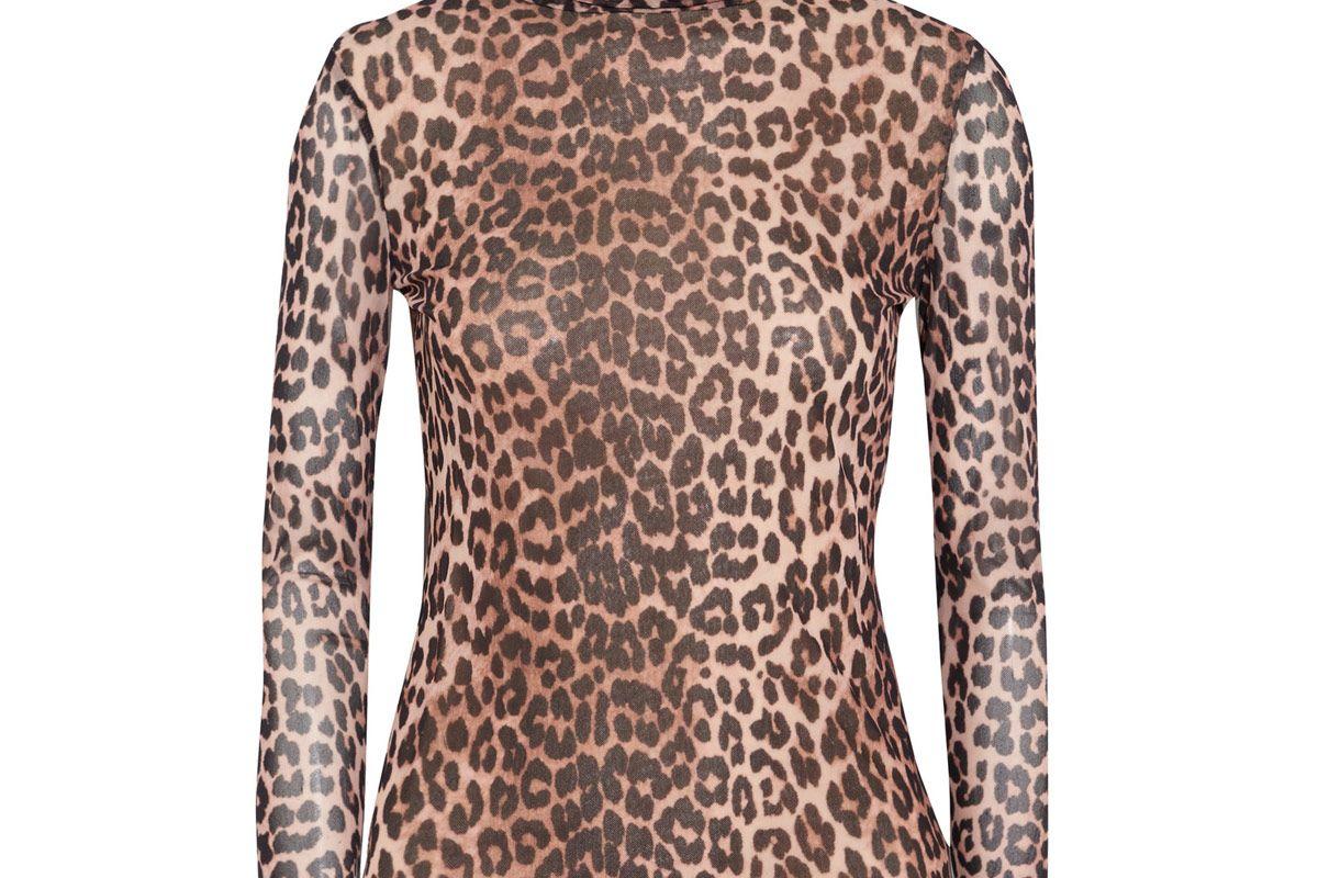 Tilden Leopard-Print Mesh Turtleneck Top