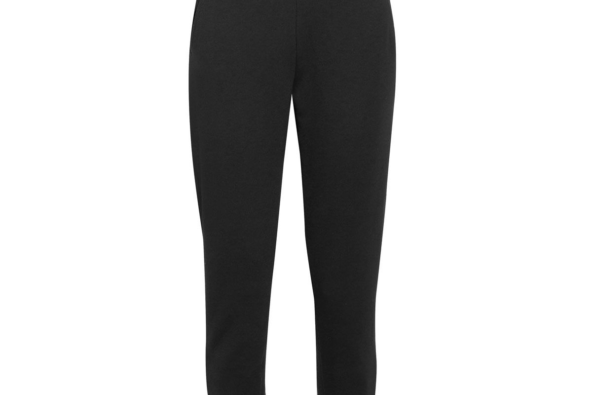 Ribbed Knit-Trimmed Cotton Track Pants