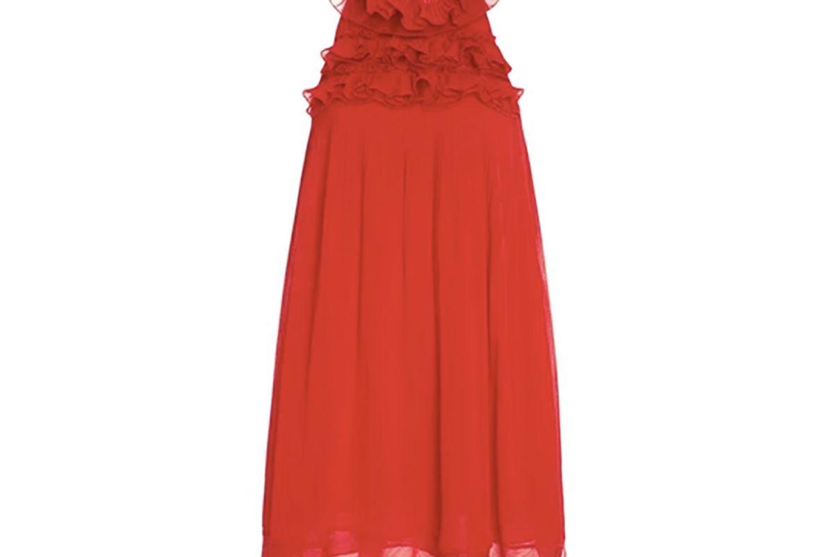 Ruffled Neck Mini Dress