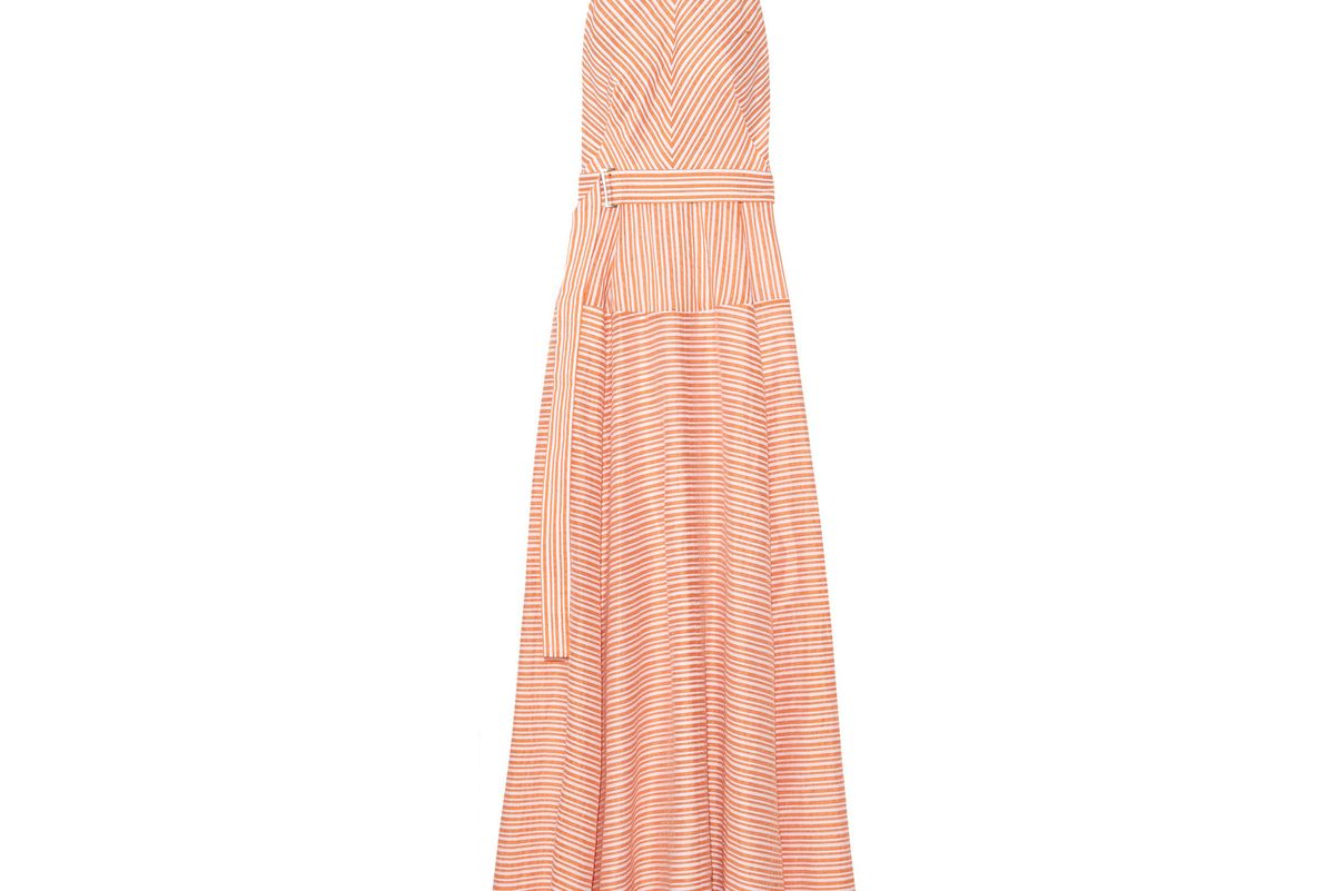 Striped cotton, linen and silk-blend gown