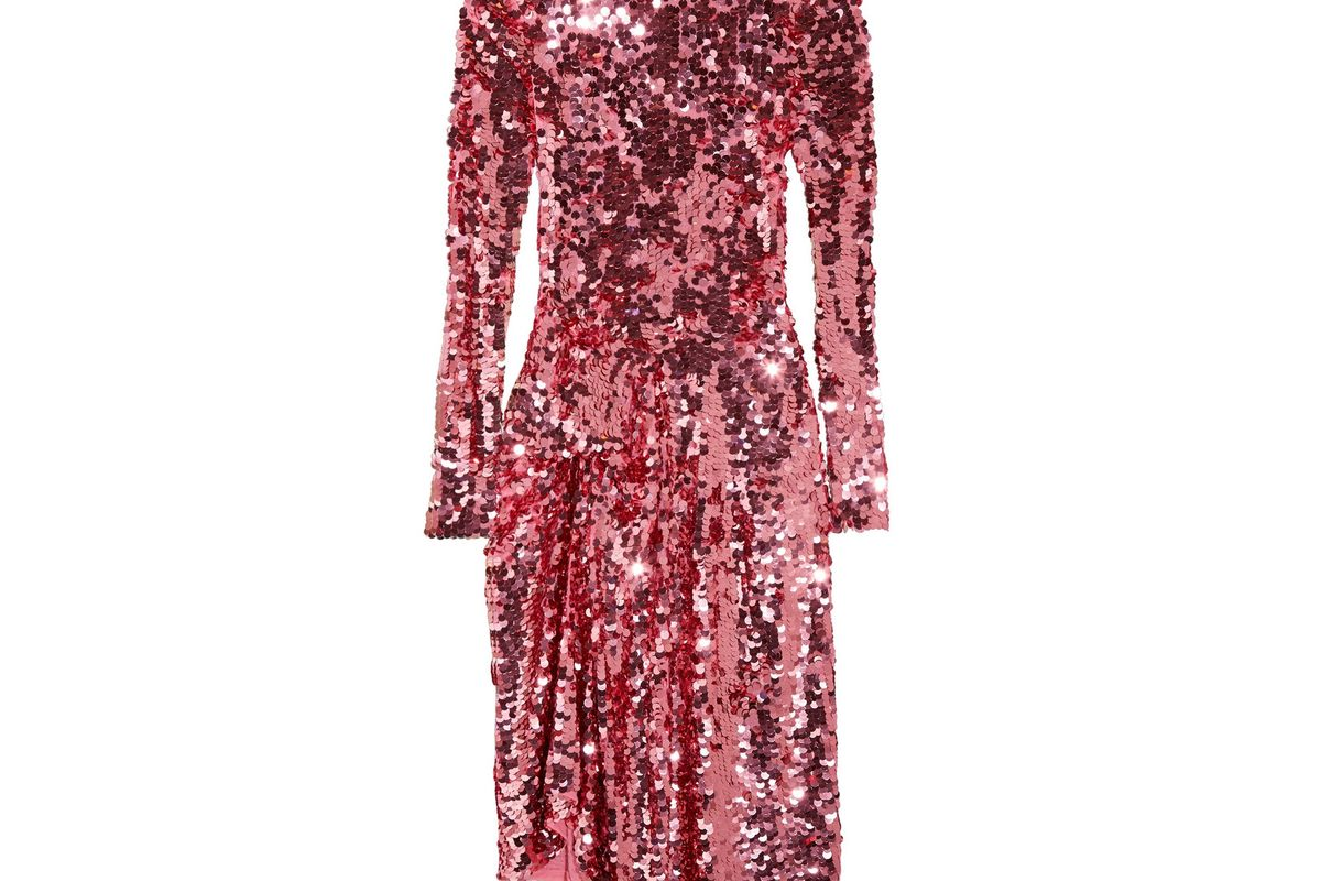 Carlin asymmetric sequined tulle midi dress