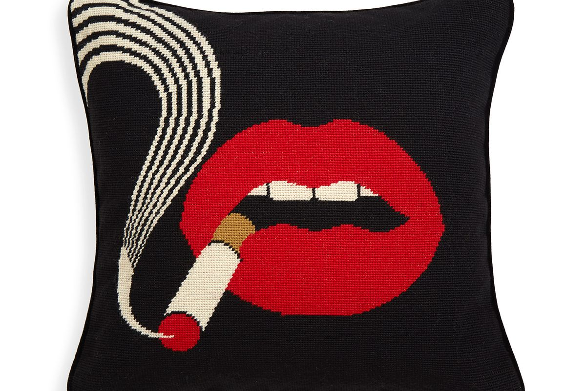 Lips Smolder Needlepoint Throw Pillow