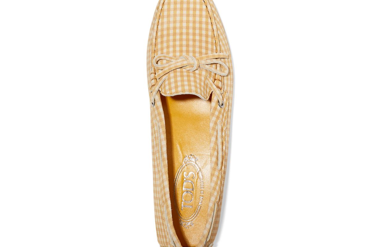 Heaven gingham suede loafers