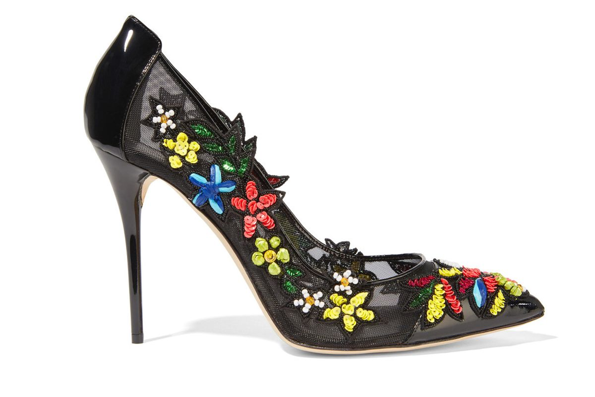 Alyssa embellished patent-leather and mesh pumps