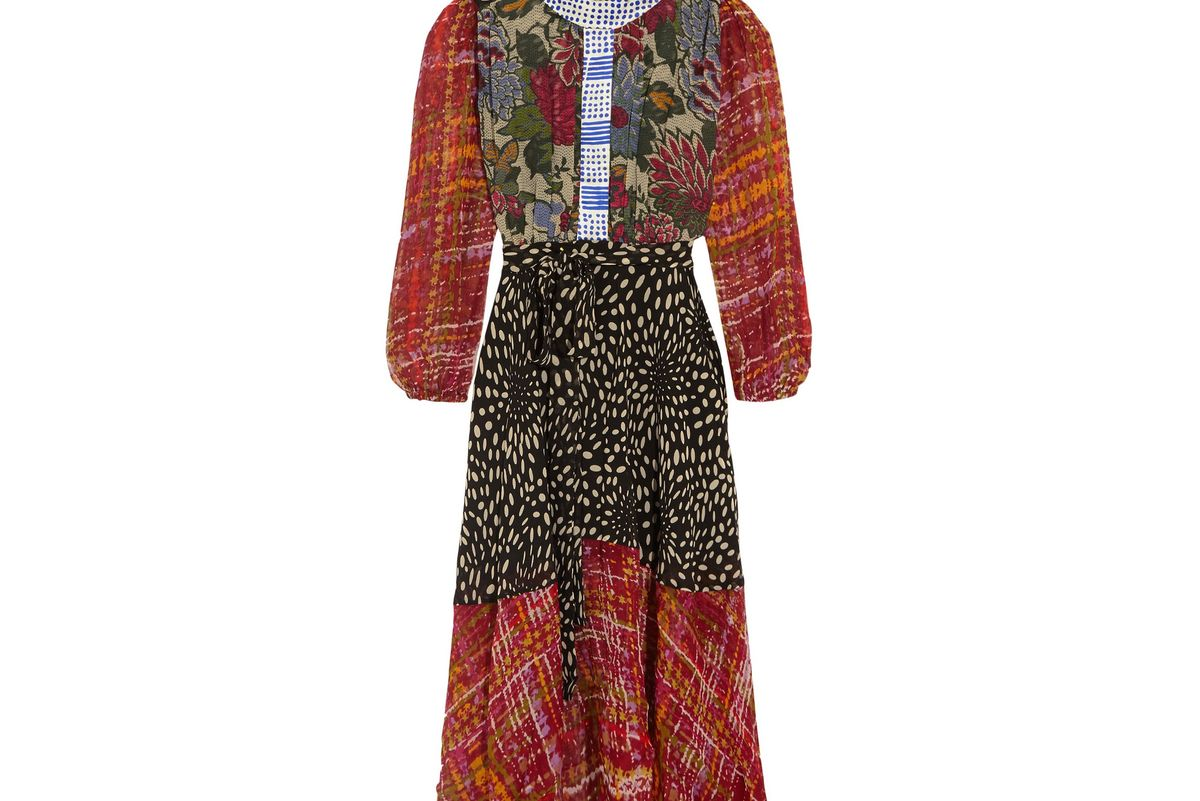 Ometa paneled printed silk-georgette midi dress