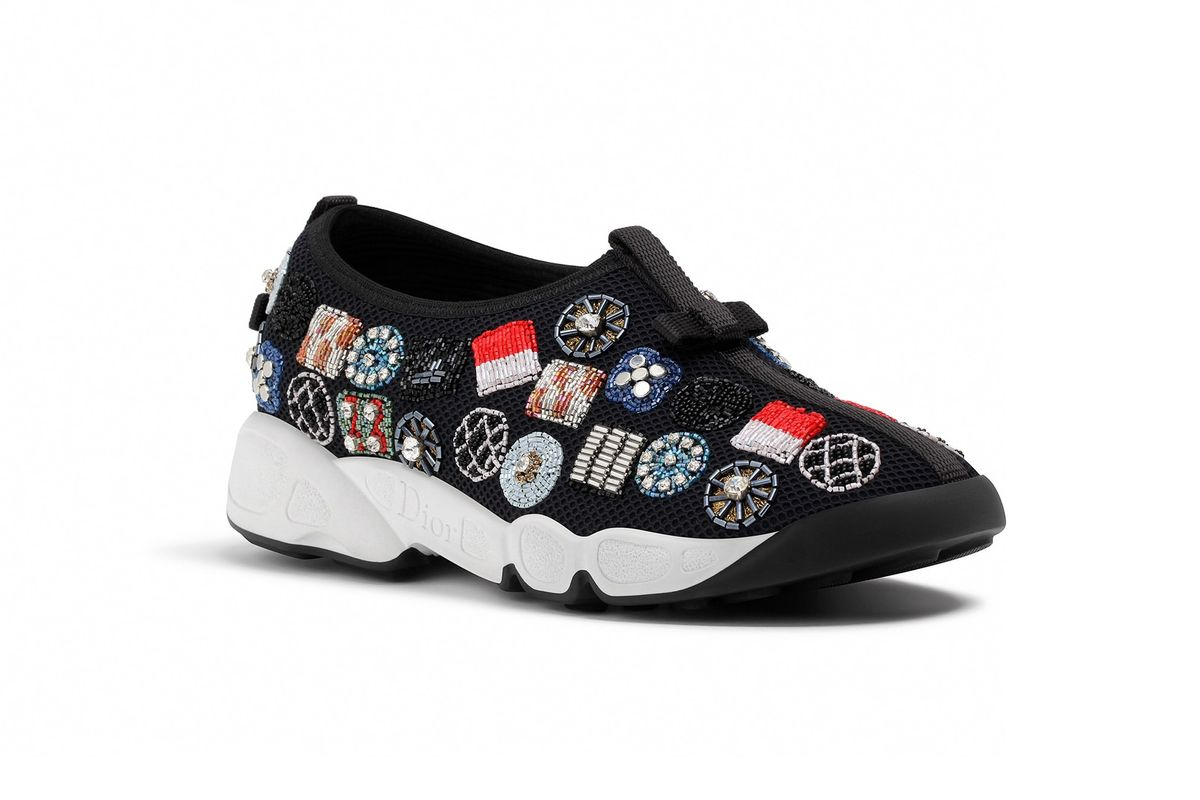 Sneakers in Black Technical Canvas with Beads