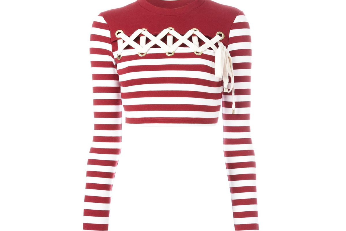 Striped long-sleeve cropped T-shirt