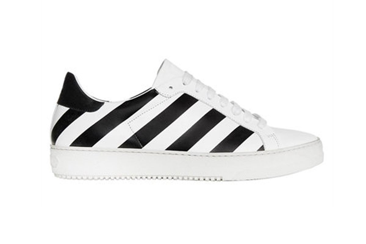 Striped Smooth Leather Sneakers