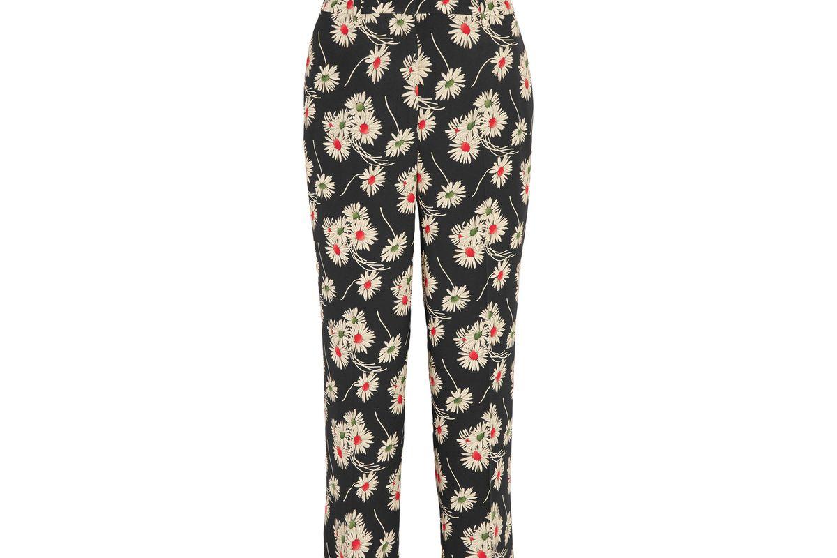 Cropped floral-print crepe wide-leg pants