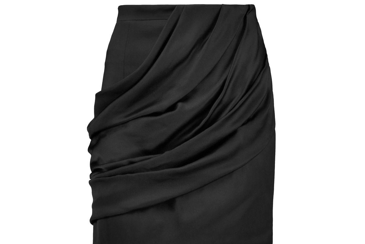 Draped satin mini skirt