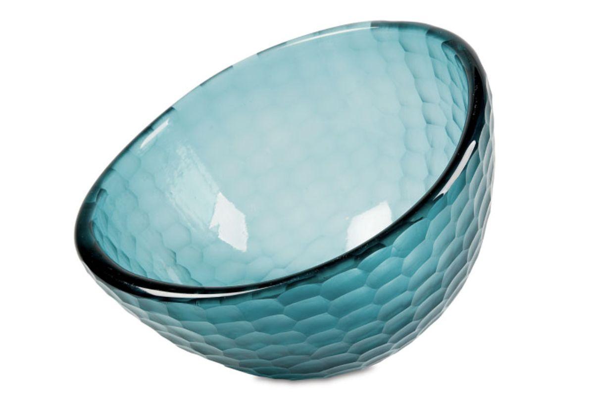 "15"" Deep Glass Bowl, Teal"
