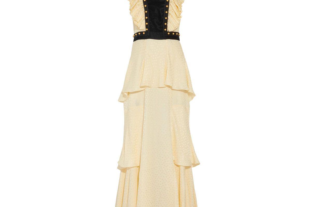Open-Back Embellished Jacquard and Velvet Maxi Dress
