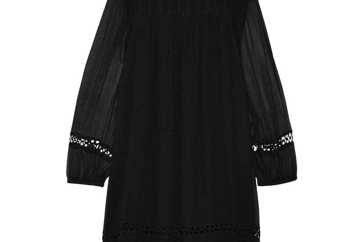 La Sierra Pintucked Crinkled Silk-Georgette Mini Dress