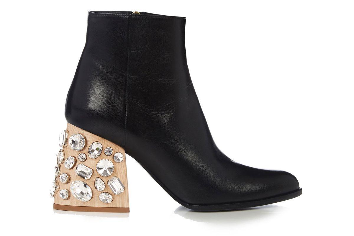 Crystal-Embellished Block-Heel Leather Ankle Boots