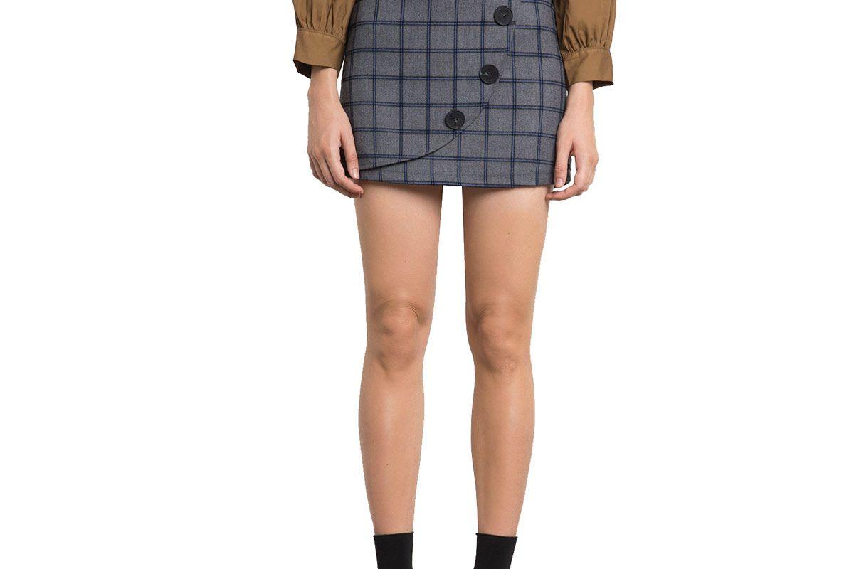 Peyton Plaid Button Skirt