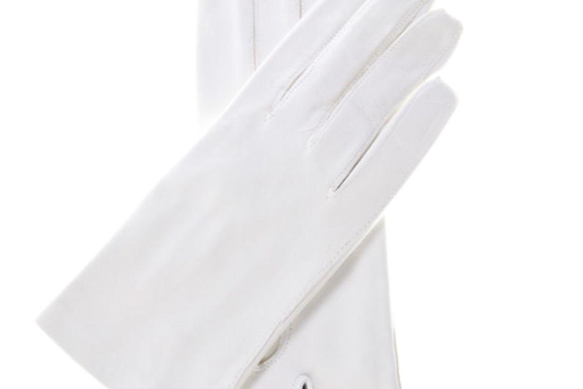 Italian Silk Lined White Leather Wedding Gloves