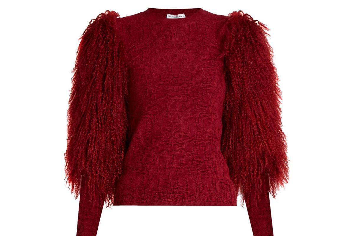 Fur-Sleeve Crew-Neck Sweater