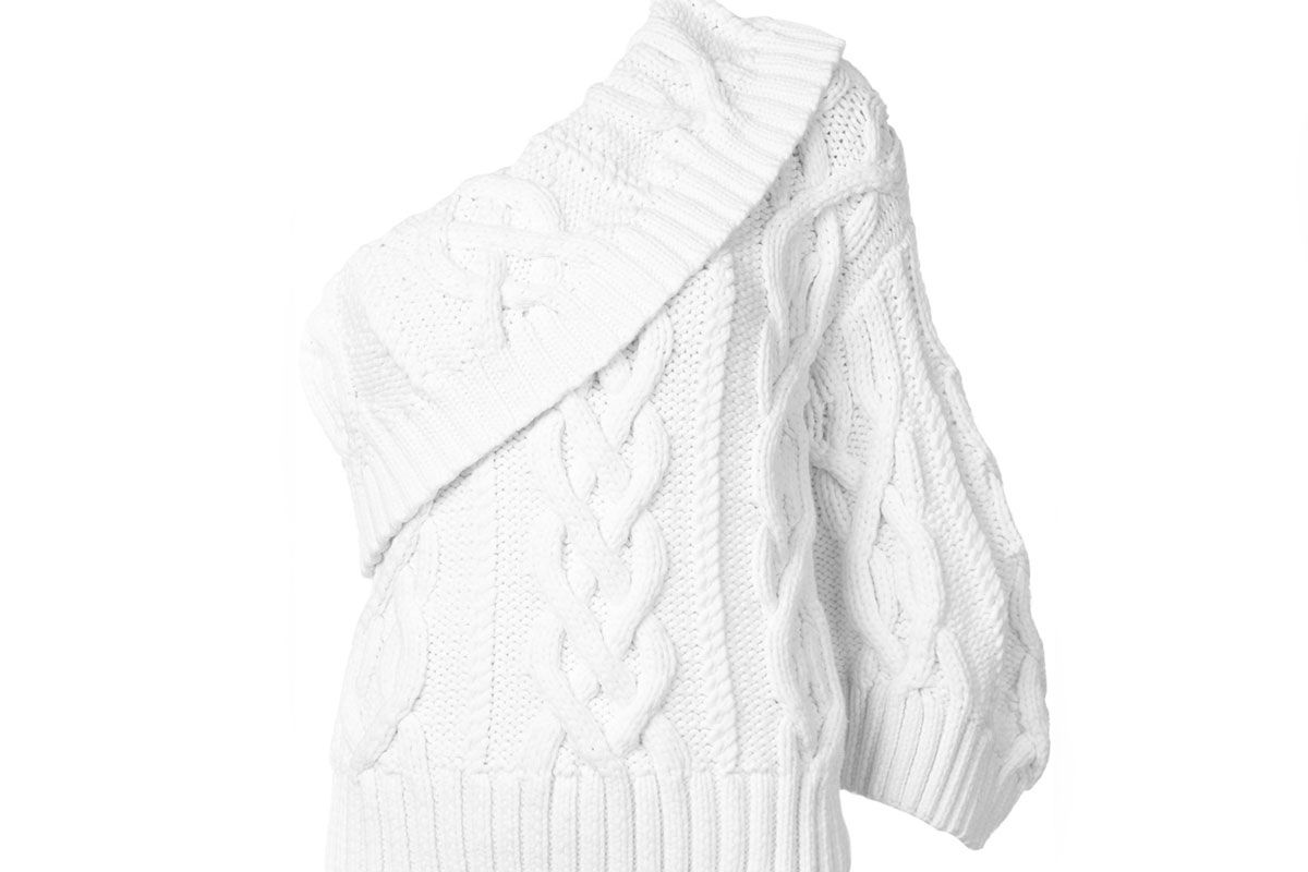 Cabled One-Shoulder Handknit Sweater