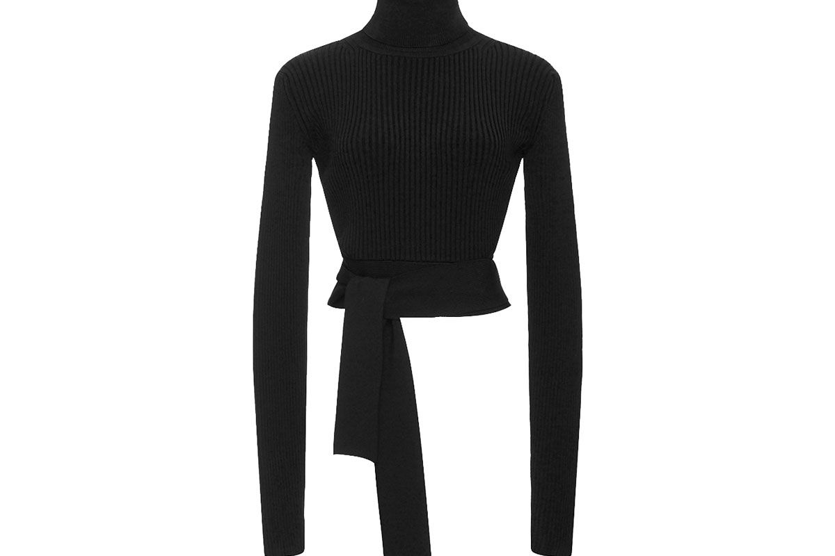 Knit Turtleneck With Back Tie Cutout