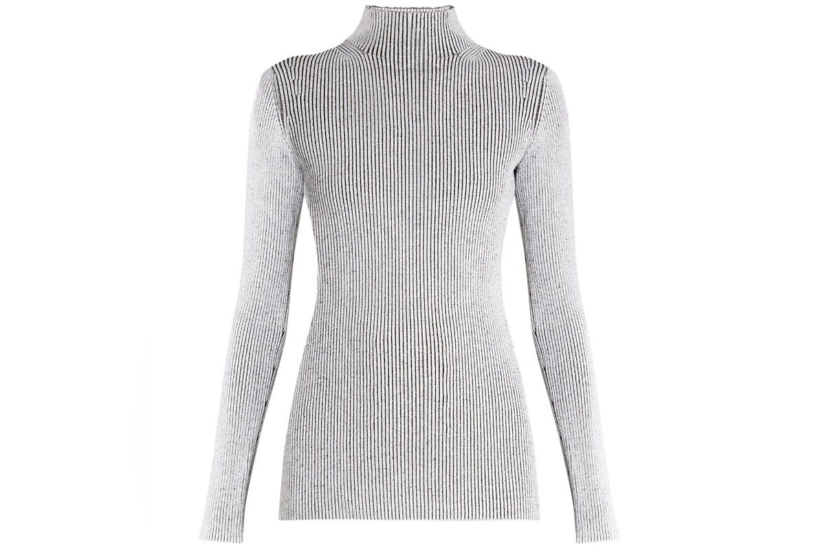 High-Neck Ribbed-Knit Sweater