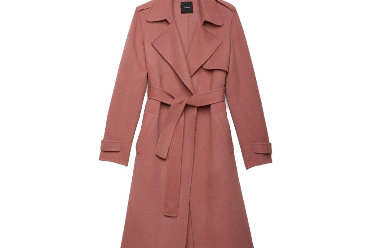 Double-Face Wool-Cashmere Trench Coat in Pink Willow