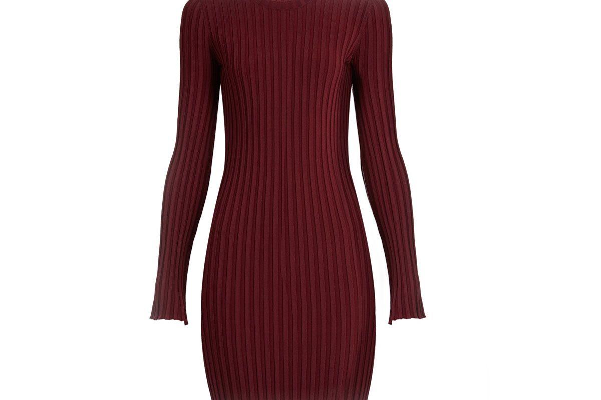 Penny Long-Sleeved Ribbed-Knit Dress