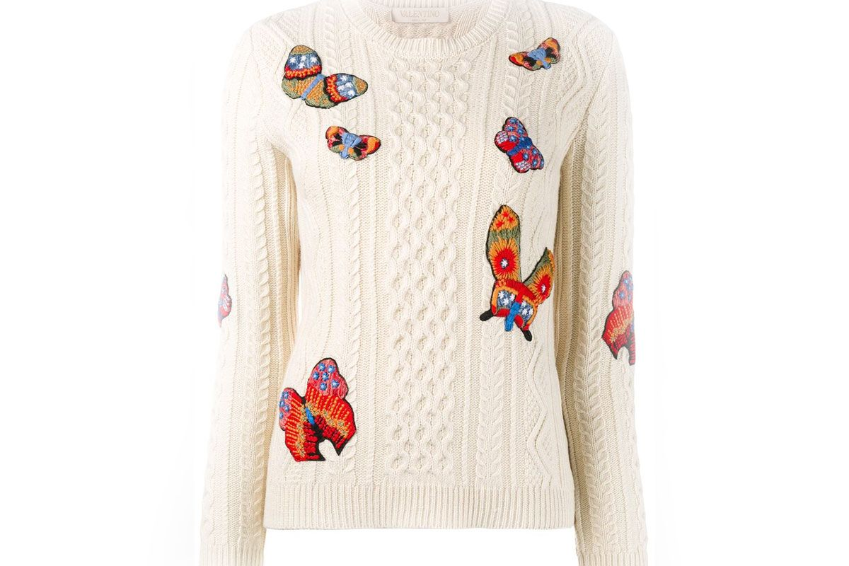 Butterfly Embroidered Cable Knit Jumper